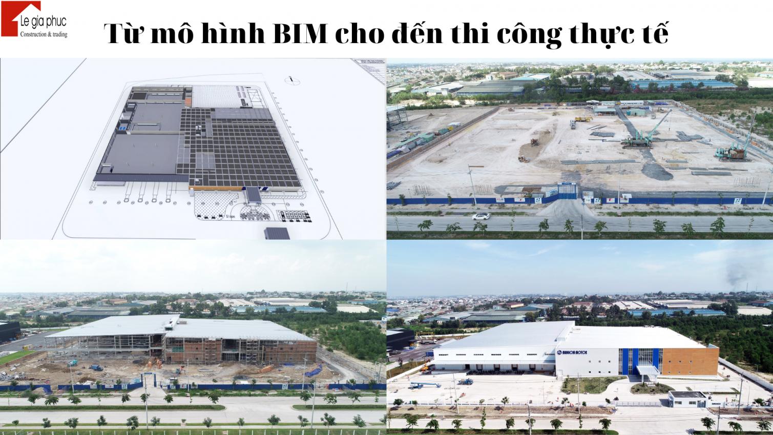 Các bản vẽ thực hiện theo mô hình BIM để thiết kế và thi công nhà xưởng, nhà công nghiệp
